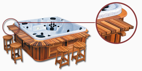 The hot tub with a Cedar Wood Side Bar
